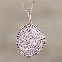 Rose gold plated pendant necklace, 'Rosy Elegance' - Contemporary Rose Gold Necklace with Cubic Zirconia