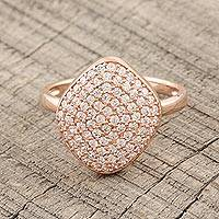 Rose gold plated cocktail ring, 'Rosy Elegance' - Cubic Zirconia Paved Rose Gold Plated Cocktail Ring