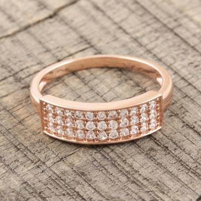 Rose gold plated cocktail ring, 'Rosy Marquee' - Rose Gold Plated Cocktail Ring with CZ