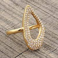 Gold plated cocktail ring, 'Golden Contour' - Abstract Gold Plated Cocktail Ring with CZ