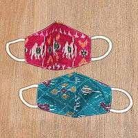 Silk ikat face masks, 'Patola Elegance' (pair) - Artisan Handmade Original Silk Ikat Face Masks from India (P