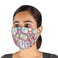 Embroidered cotton face masks, 'Bright Cross-Stitch' (pair) - 2 Handmade Colorful Cross Stitch Embroidered Face Masks