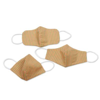 Cotton face masks, 'Melon with Lime' (set of 3) - 2 Contoured & 1 Conical Green and Orange Stripe Cotton Masks
