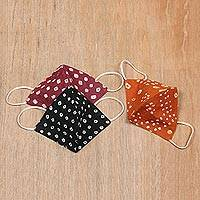 Cotton face masks, 'Bandhani Trio' (set of 3) - 3 Bandhani Dyed Cotton Face Mask 1 Orange 1 Black 1 Burgundy