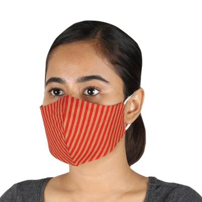 Cotton face masks, 'Caramel Apple' (set of 3) - 2 Contoured & 1 Conical Red and Brown Striped Cotton Masks