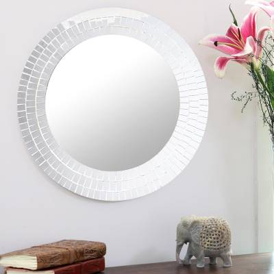 Small glass mosaic wall mirror, 'Silver Refraction' - Mirrored Glass Mosaic Small Wall Mirror from India