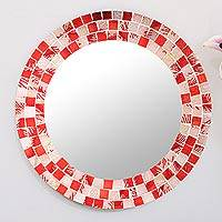Small glass mosaic wall mirror, 'Strawberry Patch' - Small Red and Pink Glass Mosaic Wall Mirror