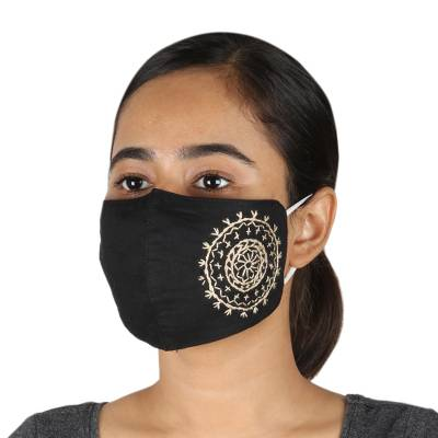 Cotton face masks, 'Mandala Moon' (pair) - 2 Hand Embroidered Contoured Black Cotton Face Masks