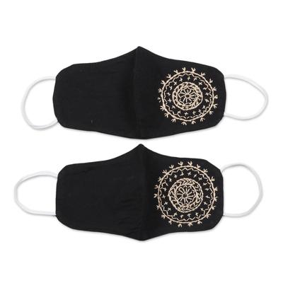 Cotton face masks, 'Mandala Moon' (pair) - 2 Hand Embroidered Contoured Black Cotton Face Masks