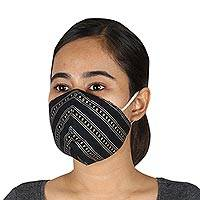 Cotton face masks, 'Glamorous Black' (set of 3) - 2 Contoured & 1 Conical Black Face Masks with Gold & Silver