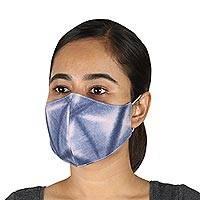 Cotton face masks, 'Blue Denim Shadows' (set of 3) - 3 Faded Blue Denim Two-Layer Cotton Face Masks from India