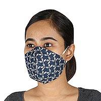 Cotton face masks, 'Blue Denim Branches' (set of 3) - 3 Blue Denim White Embroidery Two-Layer Cotton Face Masks