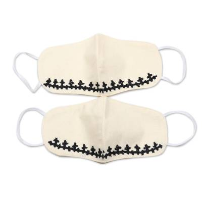 Cotton face masks, 'Black Stars Align' (pair) - 2 Hand Embroidered Contoured Ivory Cotton Face Masks