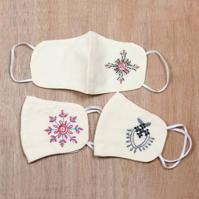 Cotton face masks, 'Radiant Hope' (set of 3) - 3 Embroidered 2-Layer Contoured Cotton Face Masks