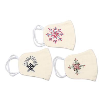 Cotton face masks, 'Radiant Hope' (set of 3) - 3 Embroidered 2-Layer Contoured Cotton Face Masks