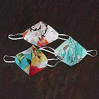 Cotton face masks 'Glory of Nature' (set of 3) - 3 Bright Cotton Print Double Layer Ear Loop Face Masks
