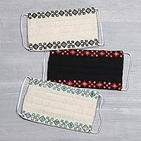 Cotton face masks, 'Dazzling Diamonds' (set of 3) - 3 Embroidered Cotton 3-Layer Sequin Masks from India