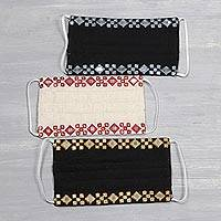 Cotton face masks, 'Dazzling Glam' (set of 3) - 3 Sequin Work Embroidered Cotton 3-Layer Masks from India