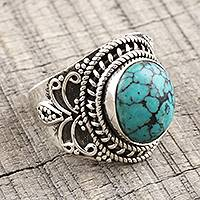 Sterling silver and reconstituted turquoise cocktail ring, 'Sky Dome' - Reconstituted Turquoise Cabochon and Sterling Silver Ring