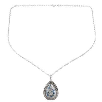 Pear-Shaped Bezel Set Blue Jasper Silver Pendant Necklace