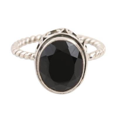 Black Onyx and Sterling Silver Cocktail Ring