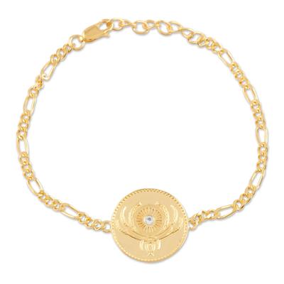 Gold plated blue topaz unity bracelet, 'Uniting People' - Gold Plated Sterling Silver and Blue Topaz Unity Bracelet
