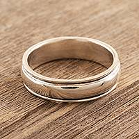 Sterling silver meditation ring, 'Thoughtful Repose' - Simple Sterling Silver Meditation Ring