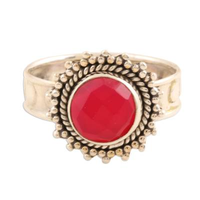 Pink Chalcedony Sterling Silver Ring