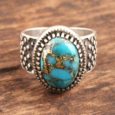 Men's sterling silver dome ring, 'Majestic Allure' - Composite Turquoise and Sterling Silver Men's Ring