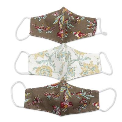Cotton face masks, 'Traditional Blossoms' (set of 3) - 3 Stylized Floral Motif Cotton Ear Loop 2-Layer Masks