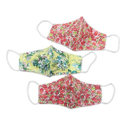 Cotton face masks, 'Victorian Blossoms' (set of 3) - 3 Cotton Floral Motif Ear Loop 2-Layer Face Masks