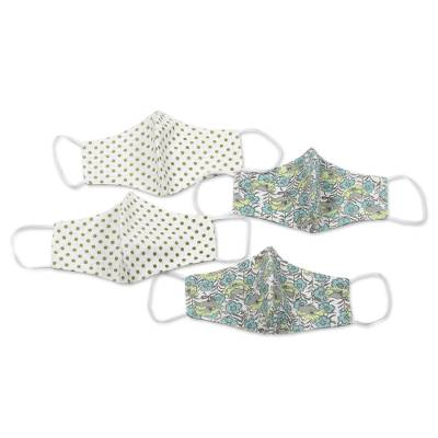 Cotton face masks, 'Polka Dot Garden Party' (set of 4) - 4 Cotton Floral & Dotted Ear Loop 2-Layer Face Masks
