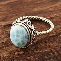 Larimar cocktail ring, 'Endless Summer Sky' - Oval Larimar Cabochon Sterling Silver Ring