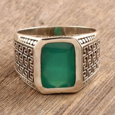 Men's onyx ring, 'Green Greek Key' - Greek Key Men's Ring with Green Onyx