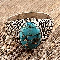 Men's sterling silver ring, 'Cobbled Lane' - Textured Sterling Silver Men's Ring from India