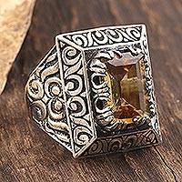 Men's citrine ring, 'Sultan's Pride' - Unique Men's Citrine and Sterling Silver Ring