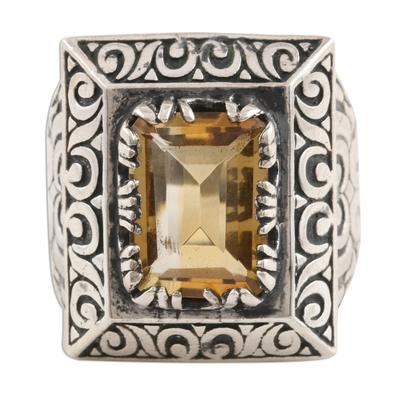 Men's citrine ring, 'Sultan's Pride' - Unique Men's Citrine and Sterling Silver Ring