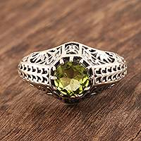 Peridot cocktail ring, 'Green-Eyed Glory' - Handmade Sterling Silver Domed Ring with Faceted Peridot