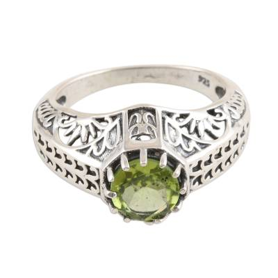 Handmade Sterling Silver Domed Ring with Faceted Peridot
