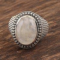 Rainbow moonstone cocktail ring, 'Jaipur Mystery' - Rainbow Moonstone Sterling Silver Cocktail Ring