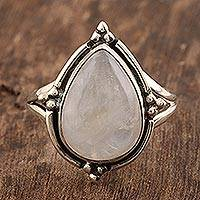 Rainbow moonstone cocktail ring, 'Misty Glory' - Rainbow Moonstone Sterling Silver Cocktail Ring