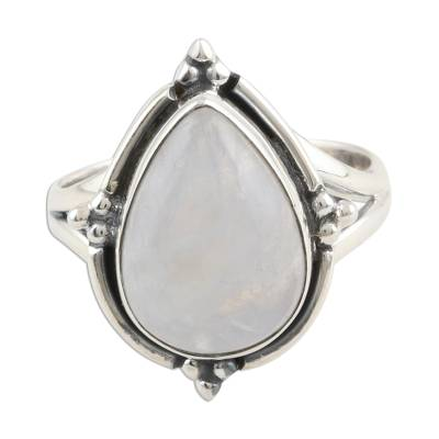 Rainbow Moonstone Sterling Silver Cocktail Ring