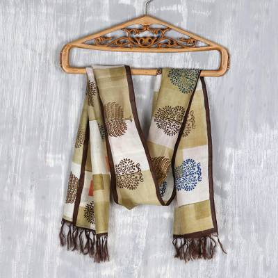 Hand painted silk scarf, 'Bengali Blocks' - Hand Woven and Hand Painted Silk Scarf