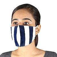 Cotton face masks, 'Bold Navy Stripes' (pair) - 2 Navy Blue & White Striped 2-Layer Cotton Ear Loop Masks