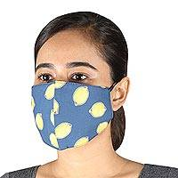 Cotton face masks, 'Make Lemonade' (set of 3) - 3 Blue Lemon Print Cotton Face Masks with Ear Loops