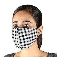 Cotton face masks, 'White and Black Gingham' (set of 3) - 3 Black & White Cotton Gingham Masks with Ear Loops