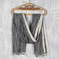 Linen shawl, 'Timeless Charm in Black' - 100% Linen Shawl in Black and White with Golden Accent