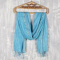 Linen shawl, 'Timeless Charm in Cyan' - Cyan and White All-Linen Shawl from India