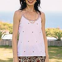 Embroidered camisole-style tank top, 'Summer Blooms in Russet' - Cotton Camisole-Style Embroidered Tank Top