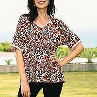 Short-sleeved cotton blouse, 'Paisley Symphony' - V-Neck Cotton Floral Paisley Print Top with Crochet Trim